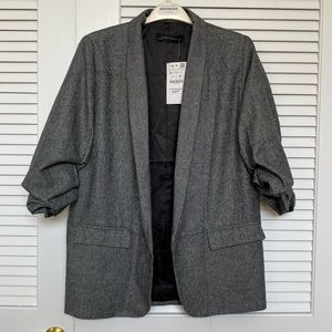 NWT Zara Herringbone Ruched 3/4 Sleeve Blazer